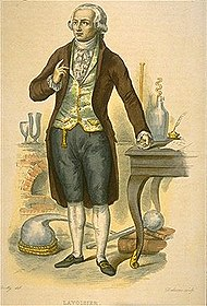 Portrait of Antoine Lavoisier in a laboratory