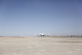 Antonov An-225 touching down at Camp Bastion in 2011.jpg