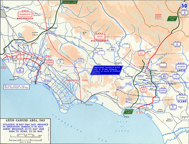 The Allied breakout from Anzio and advance from the Gustav Line May 1944. AnzioCassino1944May.jpg