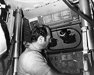 Apollo 17 Ron Evans conducts a guidance and navigation exercise Ap17-KSC-72PC-503BW.jpg