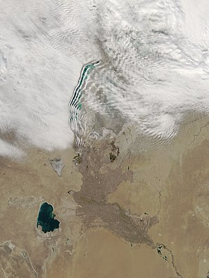 Wave cloud - Unusual wave clouds over the Aral Sea, seen from NASA's Aqua satellite on March 12, 2009.