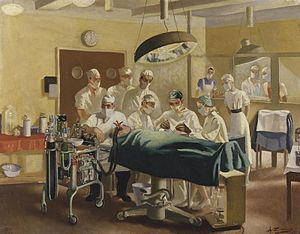 "Archibald McIndoe - ""Archibald McIndoe - Consultant in Plastic Surgery to the Royal Air Force, operating at the Queen Victoria Plastic and Jaw Injury centre, East Grinstead"" by Anna Zinkeisen (1944)"