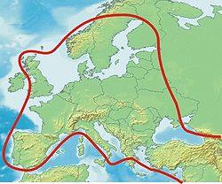 Udbredelsesområdet i Europa