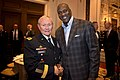 Army Gen. Martin E. Dempsey, chairman of the Joint Chiefs of Staff, and Michael Jordan, former basketball star and majority owner of the Charlotte Bobcats, talk at the National Basketball Association's board 140417-D-VO565-002c.jpg