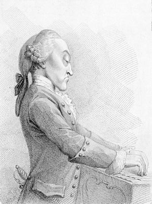 Thomas Arne - Lithograph caricature of Arne, from a painting by Francesco Bartolozzi