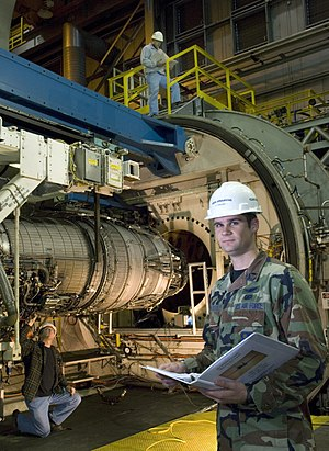 Arnold Air Force Base - 1st Lt. Josh Fredrick reviews maintenance checklists for a General Electric F101 engine at Arnold Engineering Development Center (AEDC), December 3, 2007. The engine is being used for the initial testing of a 50-50 mix of fuel produced by the Fischer–Tropsch process and traditional petroleum-based JP-8 jet fuel, a synthetic fuel mixture which is designed to reduce dependency on foreign oil.