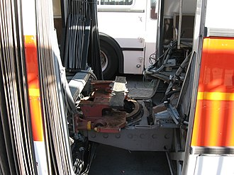 Articulated bus - The articulation joint mechanism.