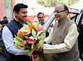 Arun Jaitley being welcomed by the Minister of State for Information & Broadcasting, Col. Rajyavardhan Singh Rathore, at the 5th National Photography Awards Ceremony, in New Delhi.jpg