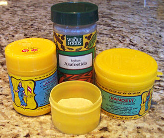 Asafoetida - Containers of powdered asafoetida