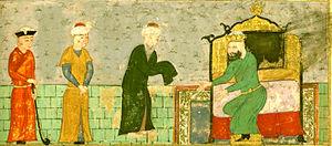 Qizil Arslan - Miniature of Qizil Arslan welcoming the Persian poet Nizami Ganjavi.
