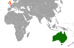 Map indicating locations of Australia and United Kingdom