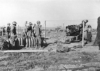 1st Siege Artillery Battery (Australia) - Image: Australian 8inch Howitzer Crew Ypres 17September 1917