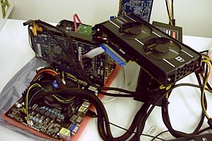 Bitcoin network - GPU-based mining rig, 2012