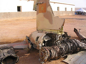 1991 Tifariti offensive - Remains of a Moroccan Northrop F-5 shot down in Tifariti by guerilla forces during Operation Rattle.
