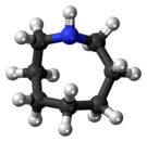 Ball-and-stick model of the azocane molecule