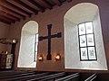 BORRE KIRKE (medieval church) Horten, Norway 2021-07-08 (Interior) Borrekorset (The Borre Cross) prekestol c 1600 (pulpit) vinduer (windows) etc IMG 7974.jpg