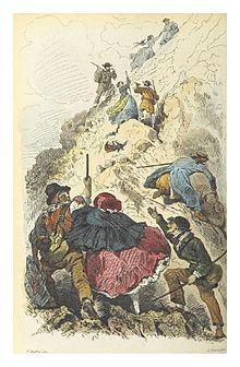 1858, salita al Vesuvio, P.Mattei disegno, I.Oruvasfan incisione, (vol.2, p.128)[9]