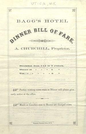 Bagg's Hotel - Bagg's Hotel menu on December 6, 1863