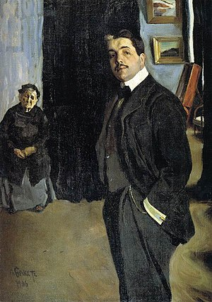 Sergei Diaghilev, director of the Ballets Russes from 1909 to 1929, as painted by Leon Bakst Bakst Diaghilev.jpg