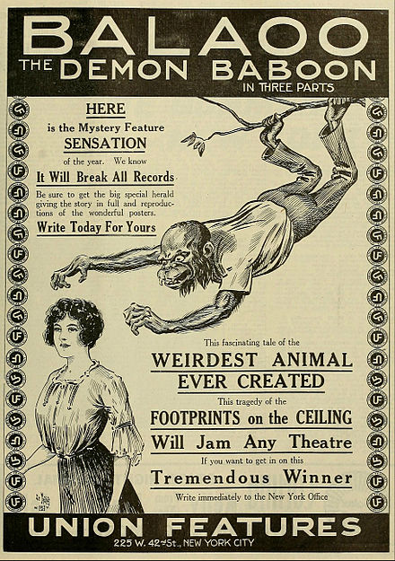 Poster of the film adaptation of Balaoo in 1913 Balaoo the Demon Baboon 1913.jpg