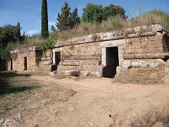 Necropolis - Tumuli are placed along a street in the Banditaccia necropolis of Cerveteri.