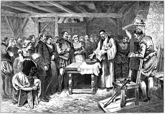 Roanoke Colony - Baptism of Virginia Dare, the first English child born in North America. Lithograph, 1880