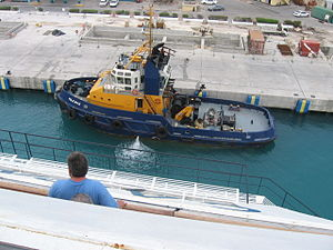 Port of Bridgetown - Tugboat Pelican II in Barbados.