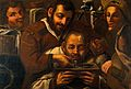 Barber-surgeons operating on a boil on a man's forehead. Oil Wellcome V0017569.jpg