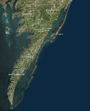 Virginia Barrier Islands - The Virginia Barrier Islands forming a line along the eastern coast of Delmarva.