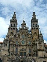 Fachada de la Catedral de Santiago de Compostela (prov. La Coruña).