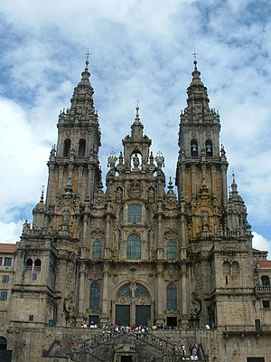 Santiago de Compostela Cathedral - The Western façade of the cathedral as seen from the Praza do Obradoiro.
