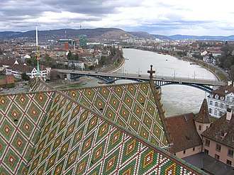 Rhine knee - Rhine knee, view from Basel Minster