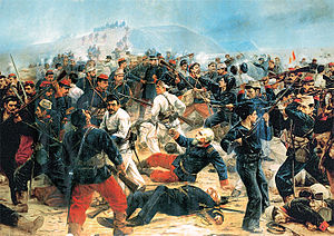 Peruvian Army - Battle of Arica, July 7, 1880. Painting by Juan Lepiani