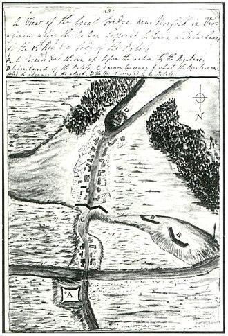 Battle of Great Bridge - Sketch by Lord Rawdon of the battlefield