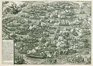 Ottoman–Venetian War (1570–1573) - The Battle of Lepanto 1571, engraved by Martin Rota.