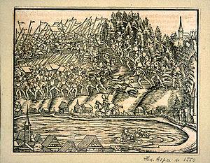 Battle of Morgarten - Illustration from the Schweizer Chronik of Johannes Stumpf of 1547