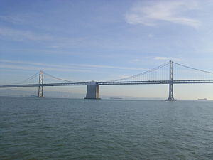 A view of the Oakland-San Francisco Bay Bridge...