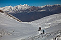 Beginning the descent to Muktinath in the fresh snow (4523383374).jpg