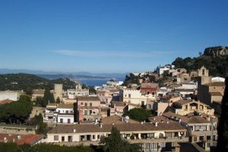Begur, Spain - Town of Begur (with view of Bay of Estartit)