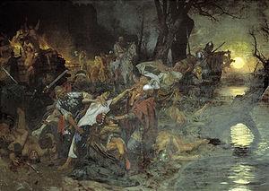 Siege of Dorostolon - Henryk Siemiradzki. Svyatoslav's Warriors sacrificing prisoners to the Pagan gods during the Siege of Dorostolon.