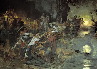 Siege of Dorostolon - Henryk Siemiradzki. Svyatoslav's Warriors sacrificing prisoners to the Pagan gods during the Siege of Dorostopol.