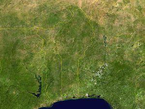 Outline of Benin - An enlargeable satellite image of Benin