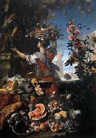 Christian Berentz - Christian Berentz, Flowers, Fruit with a Woman Picking Grapes, by Berentz and Carlo Maratta, National Museum of Capodimonte, 1689