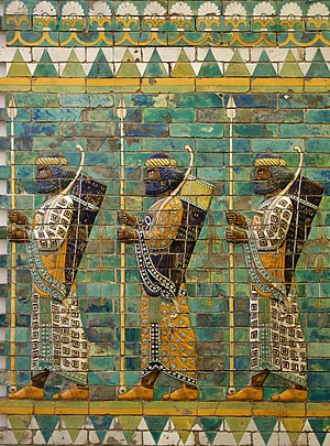 Tile - Relief made with glazed brick tiles, from the Achaemenid decoration of Persepolis.