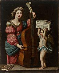 Sainte Cécile avec une contrebasse, un ange ailé tenant la partition