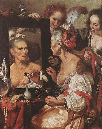 Bernardo Strozzi - Old Woman at the Mirror - W...