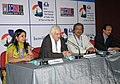 Bertrand Tavernier addressing a press conference, at the 42nd International Film Festival of India (IFFI-2011), in Panaji, Goa. The President, Indian Documentary Producers' Association (IDPA), Shri Mike Pandey, the Director.jpg