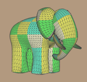 """Bézier surface - Ed Catmull's """"Gumbo"""" model, composed from patches"""