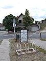 Bicycle racks, directional sign, pharmacy, Gödöllői Road, 2020 Mogyoród.jpg