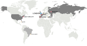 Map of the bidding cities to host the 2012 Oly...